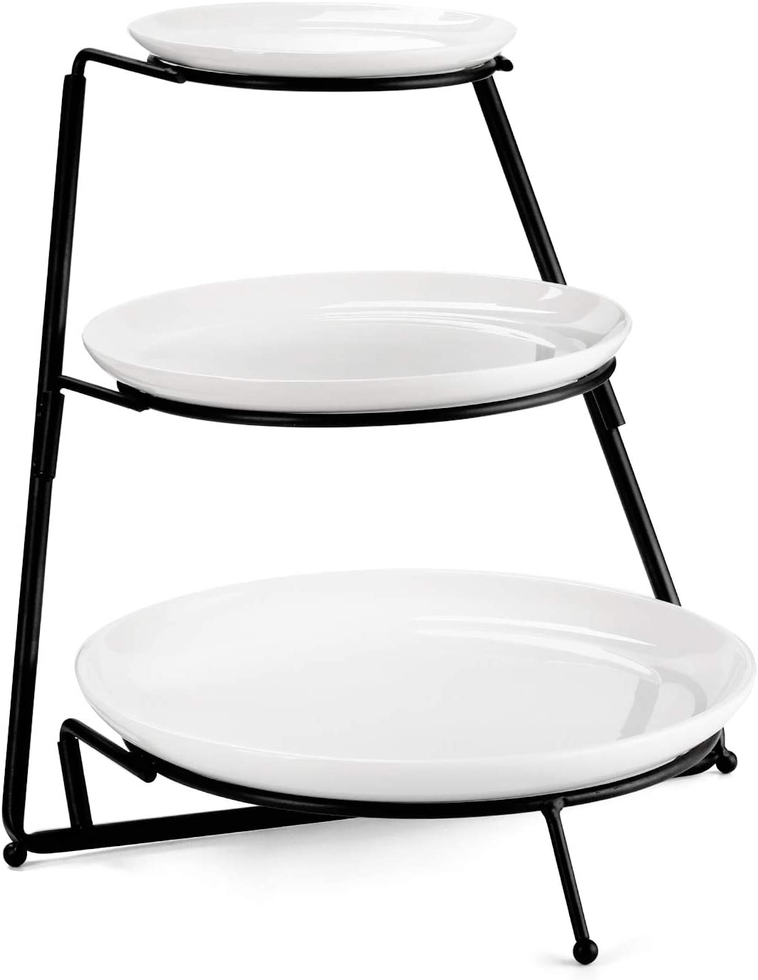 Sweese 738.101 3 Tiered Serving Stand - Food Display Stand with Round Porcelain Plates/White Serving Platters for Parties