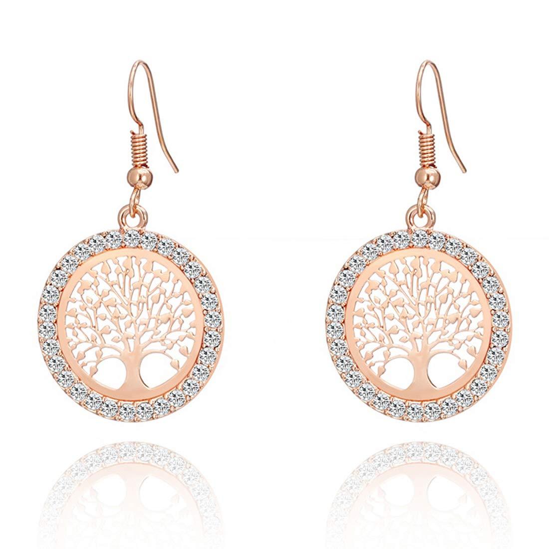 Fashion Tree Cubic Zirconia Earrings Round Drop Dangle Earrings for Women Girls