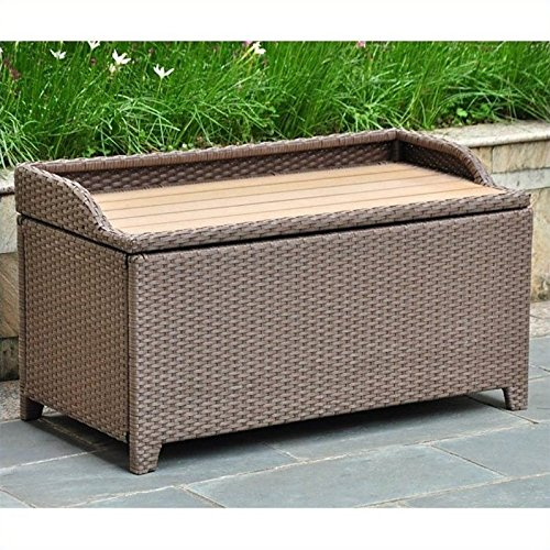Wicker Resin/Aluminum Patio Bench with Storage by International Caravan