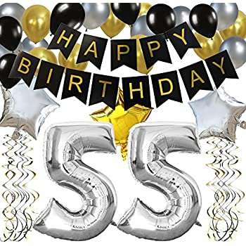 KUNGYO Classy 55TH Birthday Party Decorations Kit Black Happy Brithday BannerSilver 55 Mylar Foil Balloon Star Latex BalloonHanging Swirls Perfect