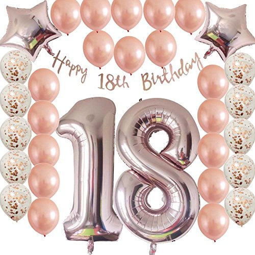 18th Birthday Decorations Party Supplies-Rose Gold Confetti Latex Balloons-Happy 18th Birthday Banner as Gift for Girls,Boys,Men|Women Table Confetti Decorations,Photo Props,Party (Table Decorations For 18th Birthday Party)