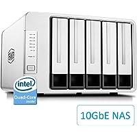 TerraMaster F5-422 10GbE Serveur de Stockage en Nuage NAS 5 Baies Intel Quad-Core 1.5Hz Stockage réseau Plex Media Server (sans Disque)