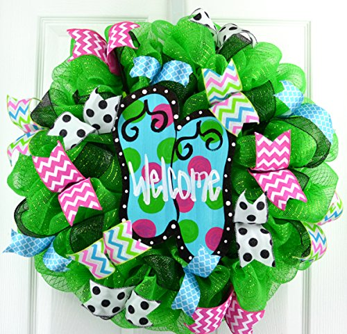 Summer spring beach lake ocean flip flop welcome deco mesh wreath