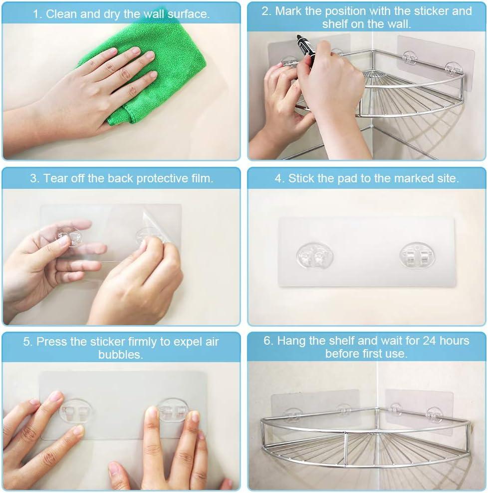 ZealBoom Mensola Doccia Angolare 2 Pezzi Adesiva Mensole Bagno Angolo SUS304 Senza Foratura Mensola angolare per Bagno Cucina Mensola Doccia Triangolo