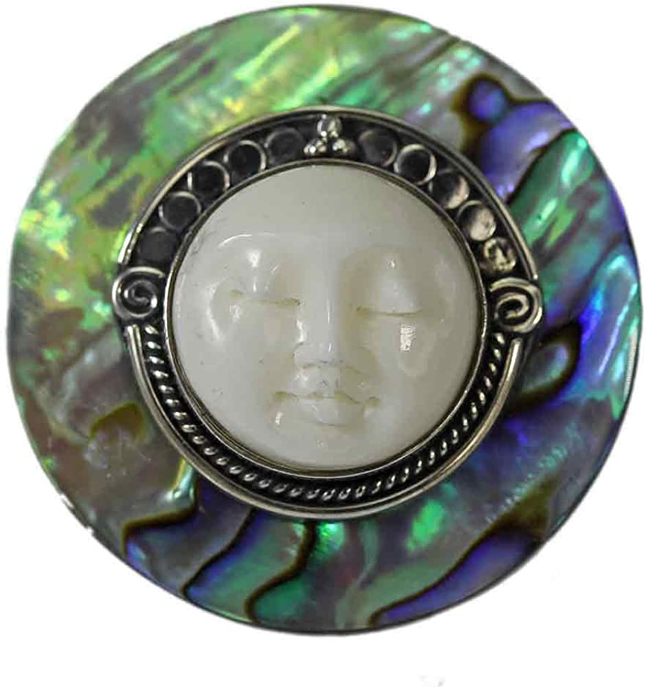 Amazon Com Abalone Carved Bone Face Ring Jewelry