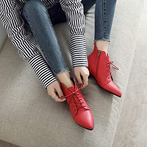 Shukun Botines Las Botas Martin de tacón bajo de Encaje Femeninas en otoño e Invierno Son Gruesas con Botas pequeñas, Zapatos de Boda Rojos, Botas de Mujer: ...