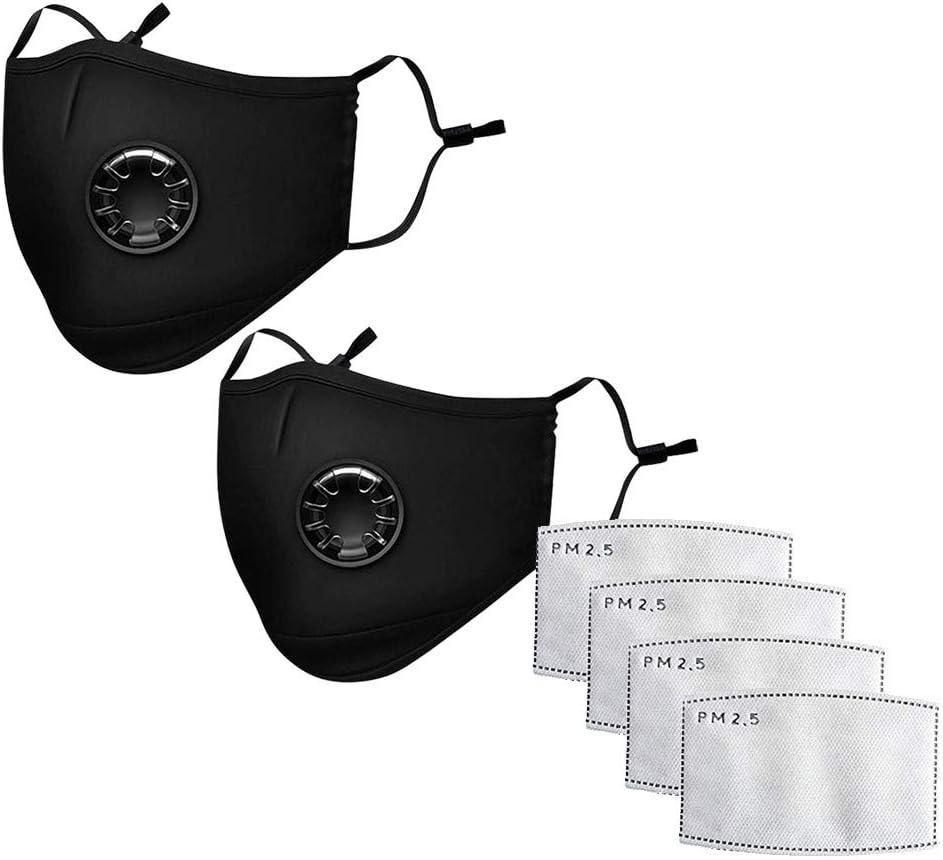 WARMWORD M a s c a r i l l a con Válvula Respiratoria Reutilizable con Filtros de Carbón Activo Mas-caril-la para Senderismo Máscara de válvula negra + almohadilla de filtro (Black, 6PCS)