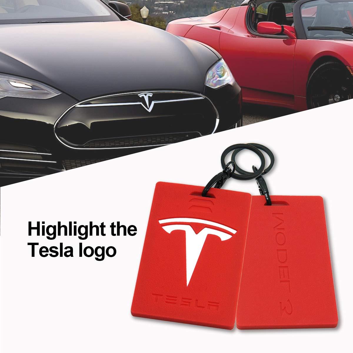 Wall Stickz Car Sales Key Card Holder for Tesla Model 3 Silicone Protector Cover Key Card Keychain Black