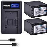 DuraPro 2Pcs 3900mAh NP-FV100 FV100 NP FV100 Battery + LCD USB Charger for Sony NP-FV30 NP-FV50 NP-FV70 SX83E SX63E FDR-AX100E AX100E HDR Handycams