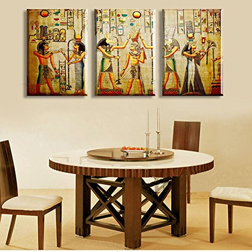 Triple abstract no frame picture Egyptian mural Room Escape Modern decorative painting a large art wall art print No (Egyptian Party Decorations)