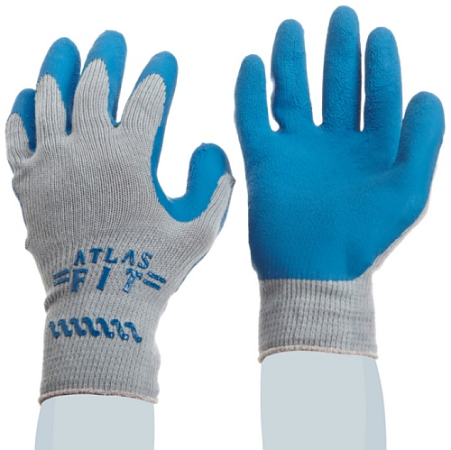 Atlas Fit 300 Gloves (SHOWA Atlas 300 Fit Palm Coating Natural Rubber Glove, 10-Gauge Seamless Knitted Liner, General Purpose Work, Large (Pack of 12)
