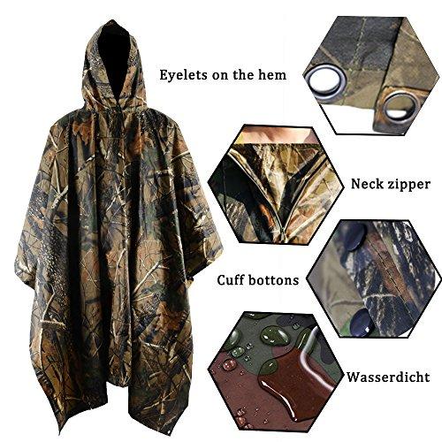 Review JTENG Rain Poncho Waterproof Ripstop Hooded US PVC Camouflage Rain coat (Maple Leaf)