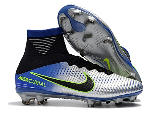 a4815f643ada Men s High Ankle Soccer Shoes Neymar Jr Nike Mercurial Superfly V FG Racer  Blue Chrome