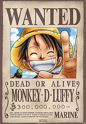 One Piece - Manga / Anime TV Show Poster / Print (Wanted: Monkey D. Luffy) (Size: 27