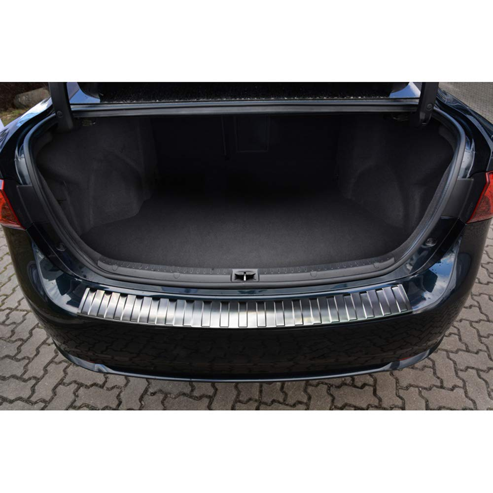 Chrome Autostyle 2//51022 Black Mirror Stainless Steel Rear Bumper Protector Mercedes E-Class W212 Kombi 2013-2016 Ribs