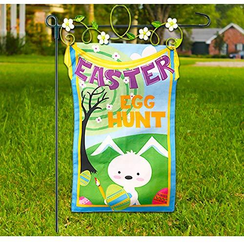 Easter Egg Hunt Decorations Easter Egg Hunt Sign ~ Deluxe Easter Banner Yard Sign or Easter Door Decoration with Metal Floral Hanger
