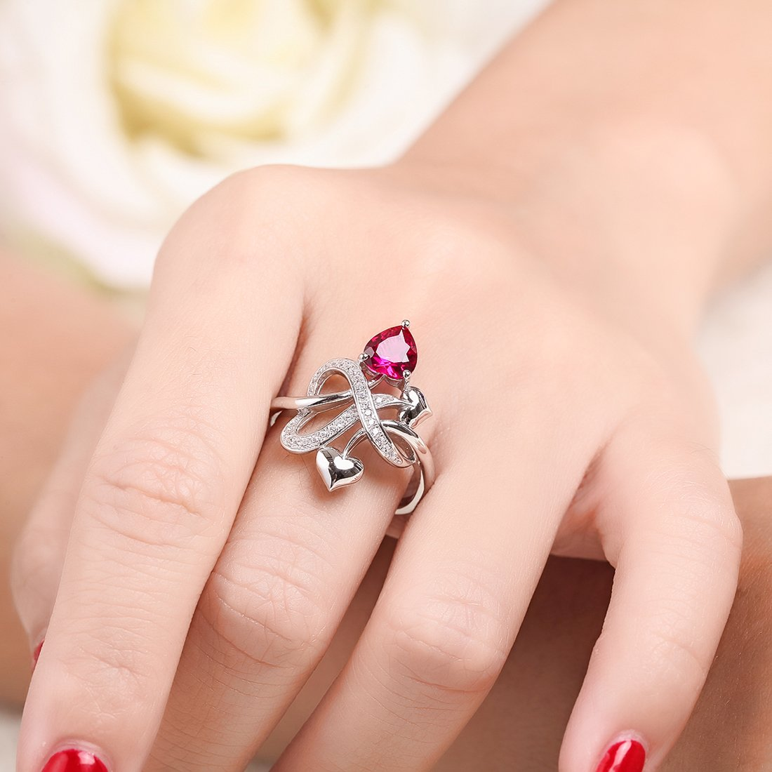 Merthus Womens 925 Sterling Silver Created Ruby Heart Love Knot Ring by Merthus (Image #2)