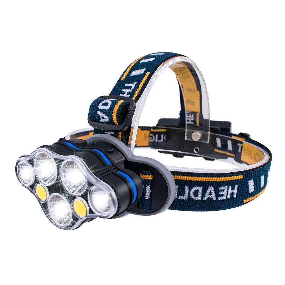 MUTANG Blendung führte Scheinwerfer, wiederaufladbare wasserdichte Stirnlampe super helle Hände 8 Modi für Camping Reise Wandern Angeln Radfahren Laufen Outdoor Abenteuer Multifunktions Bergmann Lampe