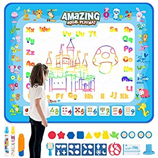 HonShoop Water Drawing Mat Large Aqua Magic Doodle Mat Coloring Mat Educational Painting Toys Gift for Toddlers Boys Girls (40 31.5inches)