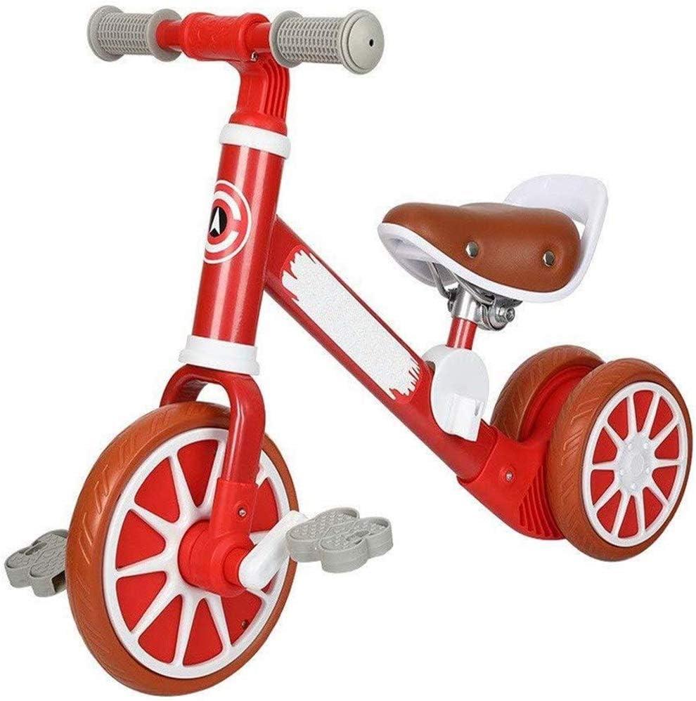 AJH Bicicleta de Equilibrio de los niños, 3 en 1 con el Pedal de Interior y al Aire Libre Triciclo portátil, Triciclo Deslizante Coche de bebé Equilibrio del Coche,Rojo