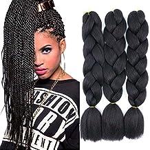 Original Jumbo Braids Hair Extension 3pcs Pure Black Color 24inch 100g/pc For Twist Box Braiding Hair (1B black)