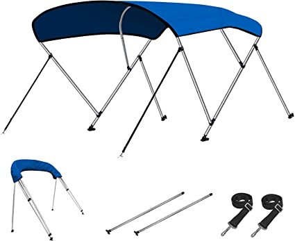"L x 73/""-78/"" W BLUE W// Rear Poles Bimini Top Boat Cover New 46/"" High 3 Bow 6/' ft"