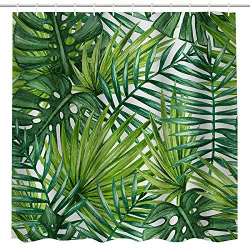 (BROSHAN Leaf Print Shower Curtain Fabric,Tropical Green Leaf Palm Leave Jungle Summer Hawaiian Nature Scene Art Printing,Waterproof Fabric Bathroom Bath Decor Set with Hooks,72x84 Inch,Green,)