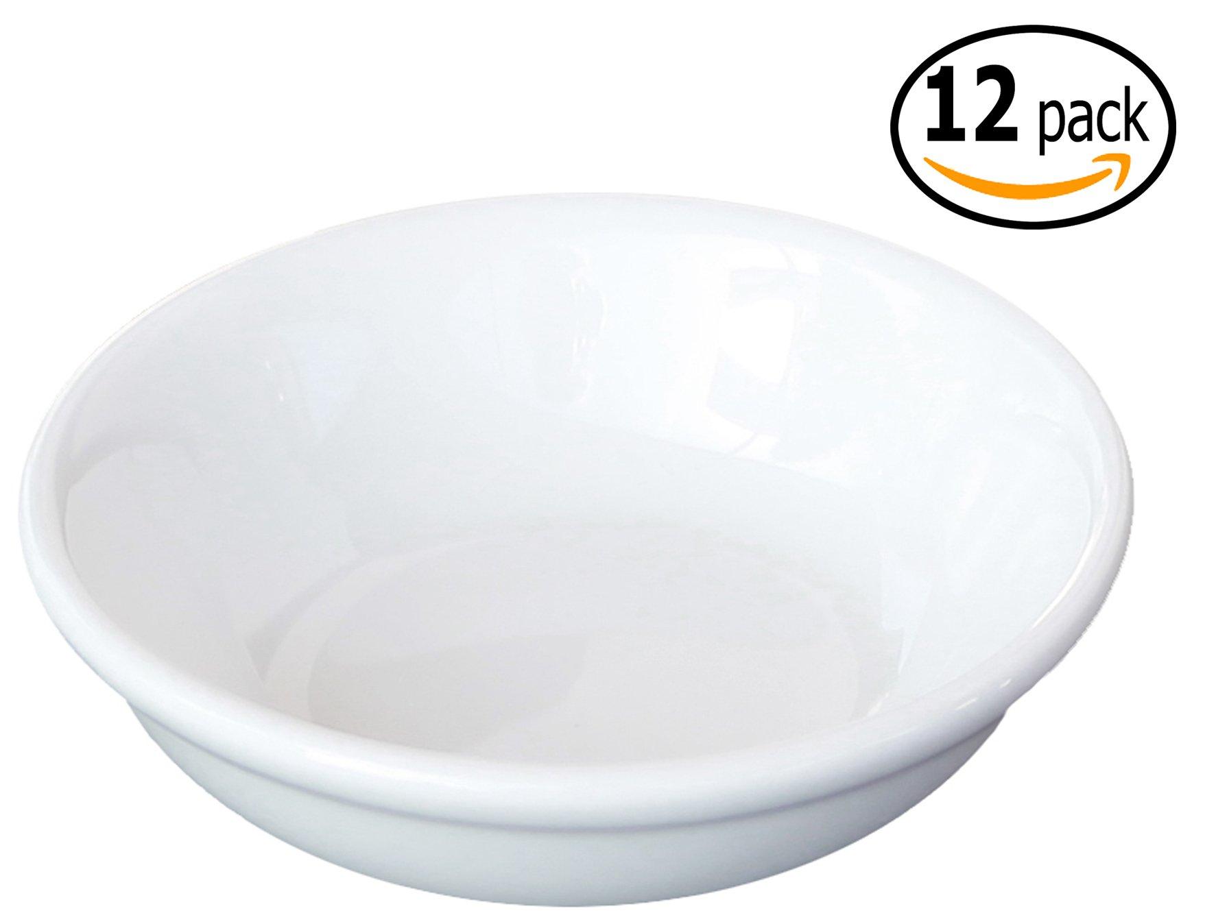 Ceramic Side Sauce Dish and Pan Scraper, 3 Inch, 2 Ounce, Bone White, 12-Pack