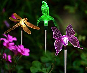 Solar Stake Lights Outdoor - 3 PCS Multi-Color Changing LED Garden Lights Dragonfly, Butterfly & Hummingbird, Solar Garden Lights Decorative for Path, Yard, Lawn, Patio, Garden