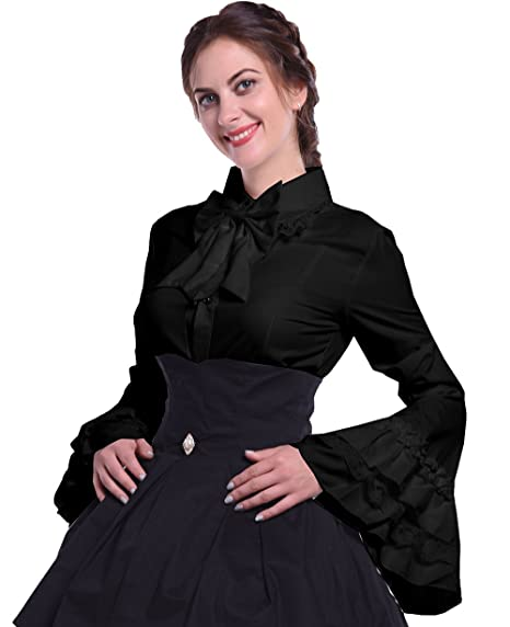 Steampunk Costumes, Outfits for Women Nuoqi Women Stand-Up Collar Lotus Ruffle Shirt Retro Victorian Lolita Blouse $49.88 AT vintagedancer.com