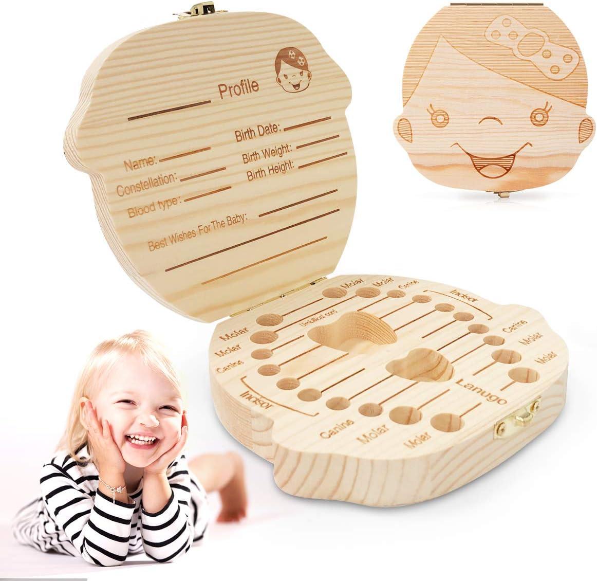 Caja de Dientes, Ledeak Cajitas para Dientes de Leche Regalo para niños en madera de souvenir, Caja de Madera para Guardar Dientes, Acumulación de dientes(Niña): Amazon.es: Bebé