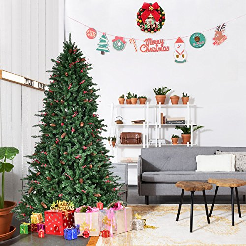 Goplus 7Ft Christmas Tree Artificial 1918 Tips Premium Hinged Full Spruce Tree w/ Pine Cones, Beries and Solid Metal Stand (Trees Pine Christmas)