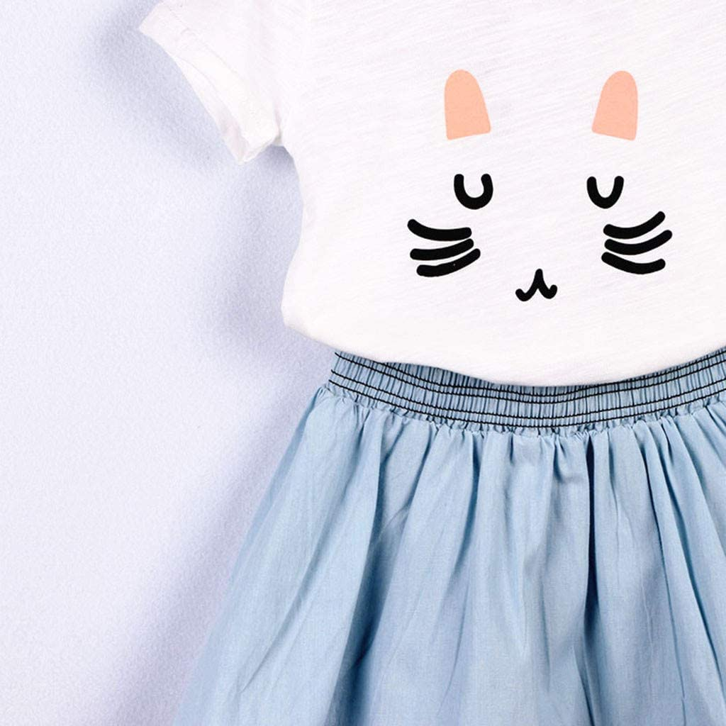 Little Girl Princess Sets,Jchen Baby Kids Little Girl Cartoon Cat Print T-Shirt Mini Skirts Summer Casual Outfits for 2-7 Yrs