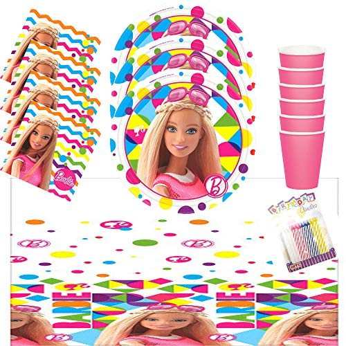 (Lobyn Value Pack Barbie Sparkle Party Plates Napkins Cups and Table Cover Serves 16 with Birthday Candles - Barbie Birthday Party Supplies Pack (Deluxe Bundle for)