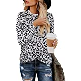 Anoir Womens Casual Shirts Round Neck Leopard Print Tunic Tops Long Sleeve Casual Tops