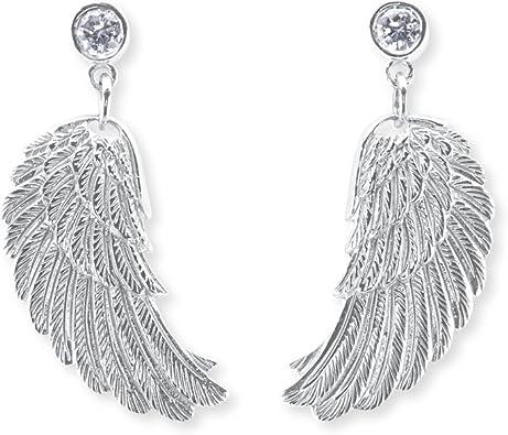 Engelsrufer Flügel Ohrstecker für Damen 925er Sterlingsilber Weiße Zirkonia Größe 20 mm