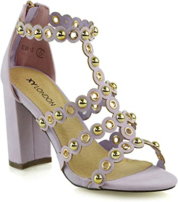 Women/'s Strappy Sandals Peep Toe Block Heel Ladies Studded Party Prom Zip Shoes