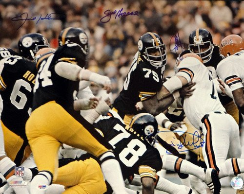 (Pittsburgh Steelers Steel Curtain Signed 16 x 20 Photo With 4 Signatures Including Greene Greenwood White and Holmes - PSA/DNA Authentication - Autographed NFL Football Photos)