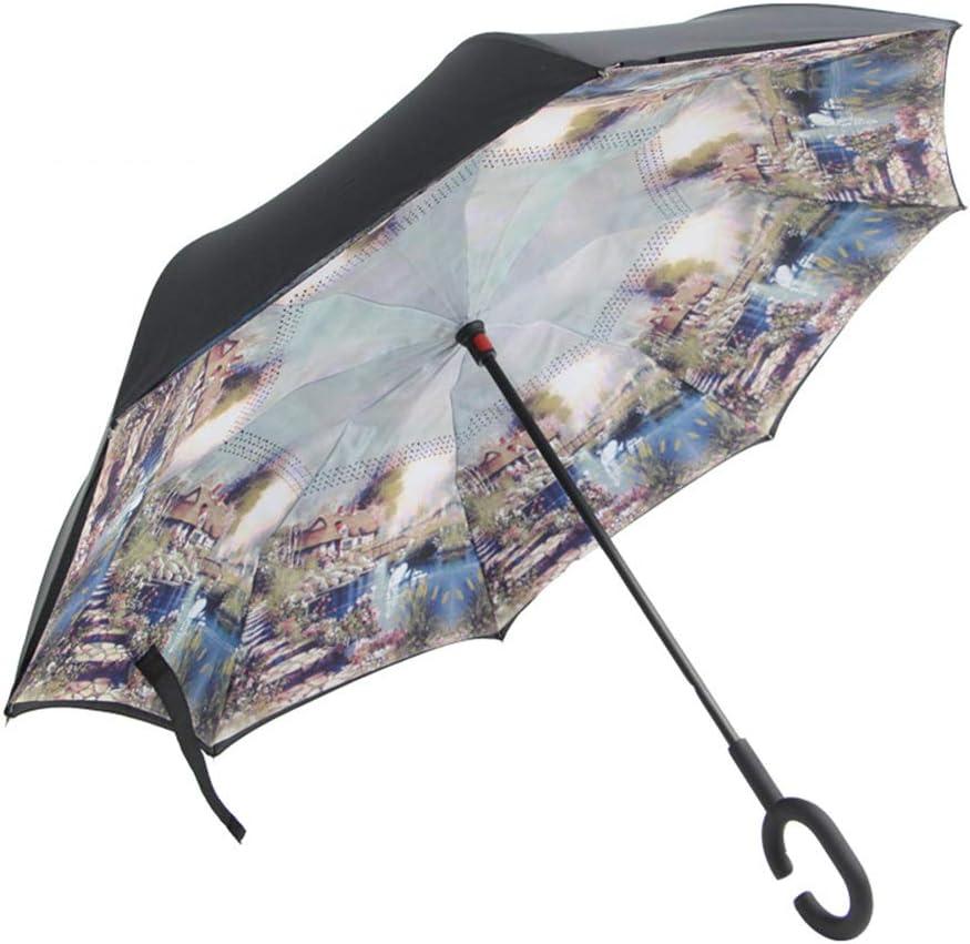 Paraguas Compacto y a Prueba de Viento Que Abre y Cierra automáticamente el Paraguas Plegable,Paraguas inverso inverso en el Paraguas, Paraguas no Mojado, Color a Prueba de viento24 95cm: Amazon.es: Hogar
