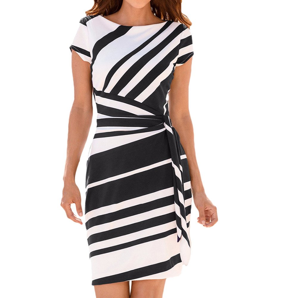 Meigeanfang Women Casual Office Dress Pencil Stripe Short Sleeve Belt Party Mini Working Dresses(Black,S)