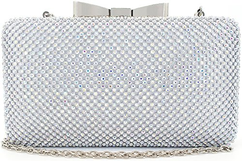 Bow Clutches Women Evening Bag for Wedding Prom Cocktail Party Rhinestone Crystal Clutch Purse AB Silver