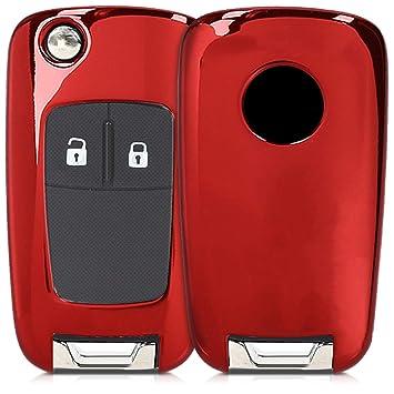 kwmobile Funda para Mando de Opel Vauxhall - Carcasa con Botones para Llave del Coche Llave Plegable de 2-3 Botones para Coche Opel Vauxhall - Rojo ...