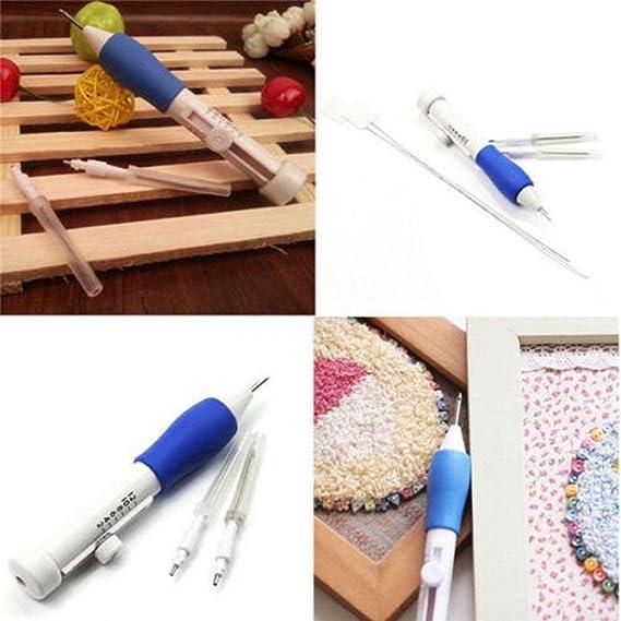 Lápiz bordador mágico Sansee, bordados manuales con aguja de 1,3, 1,6 y 2,2 mm, herramienta para la ropa con una aguja punzón blanco: Amazon.es: Hogar