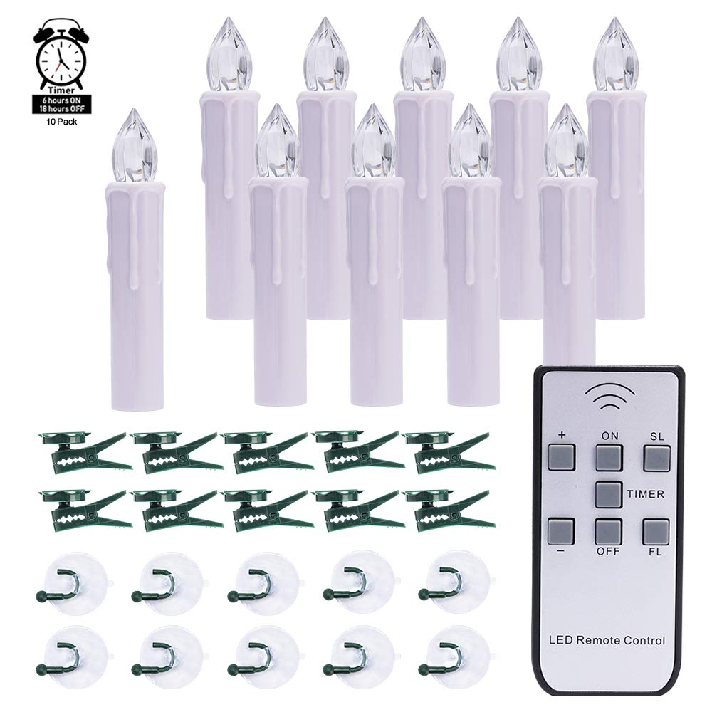 10 PCS LED Window Candles with Timer, Battery Operated Mini Taper Candle Lights, Christmas Tree Candles, Perfect for Home Decoration, Chandelier, Wedding, Warm White
