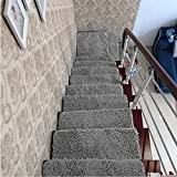 yazi Softy Stair Treads Mats Indoor Skid Slip Resistant Carpet Stair Tread Treads Machine Washable,Gray Color, 10''W x 31.5''L (Pack of 13)