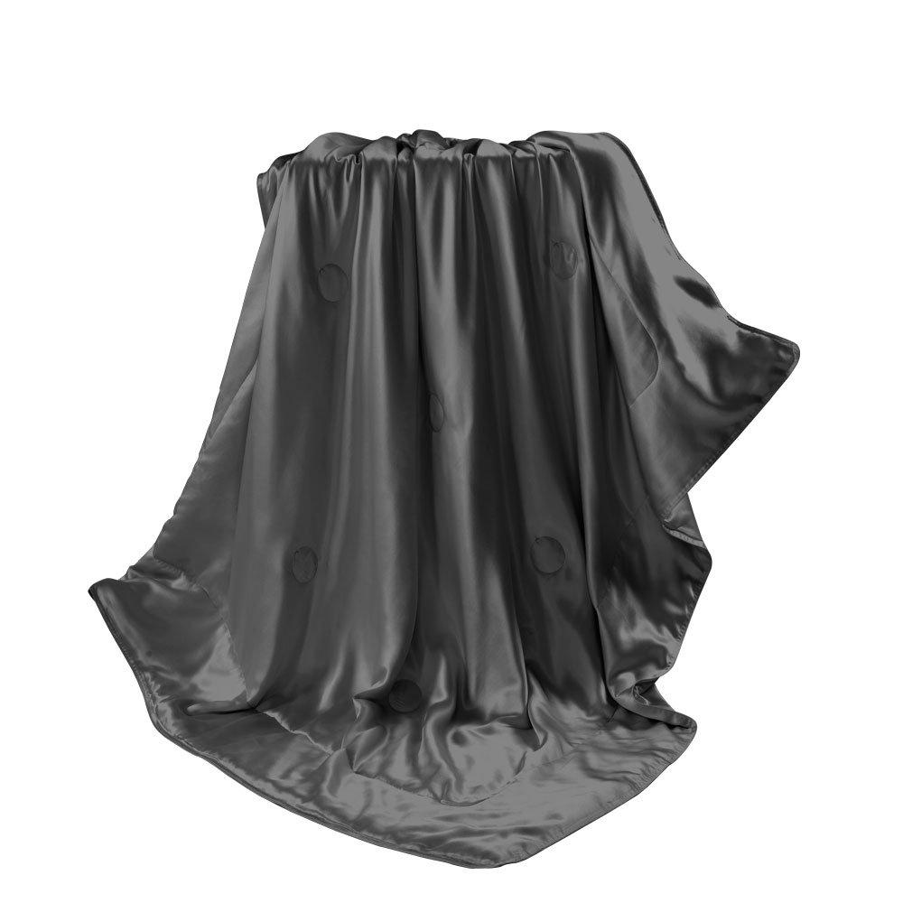 THXSILK Wolldecke Mit 100% Maulbeereseide Innen und außen, Größe 135x180 cm - Dunkelgrau