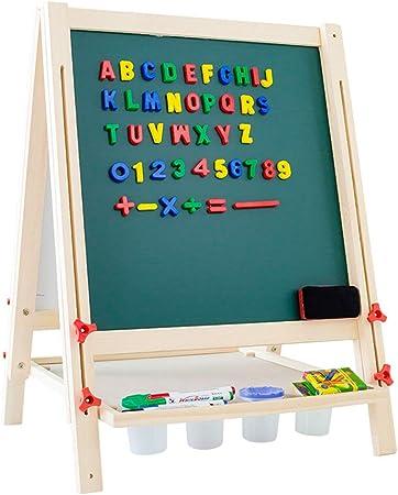 Caballete de arte para niños Niños tablero de dibujo pintura de caballete de madera aprendiendo los niños Base Con bandeja de almacenamiento de doble cara pizarra tablero de dibujo de los niños: