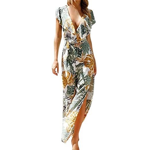 8222241b7b18 Suma-ma Womens Bohemia Sleeveless Playsuit Floral Printed Beach Jumpsuit  Summer Casual Long Romper Outfits at Amazon Women s Clothing store