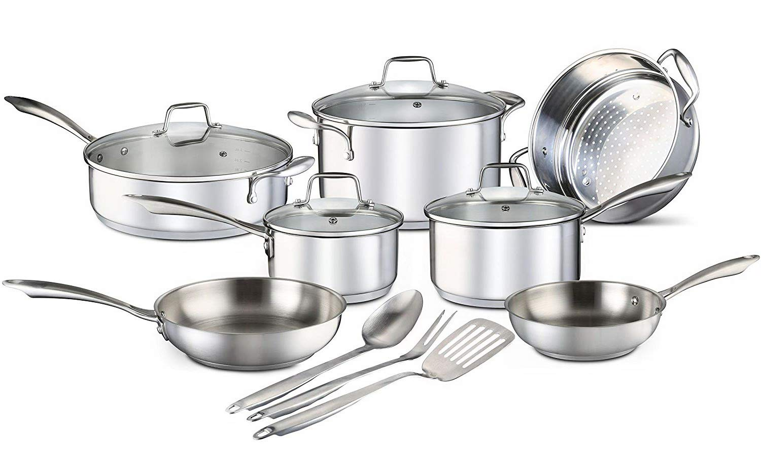 Cookware Set. Best Pots and Pans Stainless Steel Cooking Frying Kit With Glass Lids. Frying Pans, Sauce Pans, Stock Pot, Saute Pan, Steamer Basket, Kitchen Tools. Silver (14 Piece)