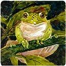 "Caroline's Treasures MM6015FC Frog Foam Coasters (Set of 4), 3.5"" H x 3.5"" W, Multicolor"